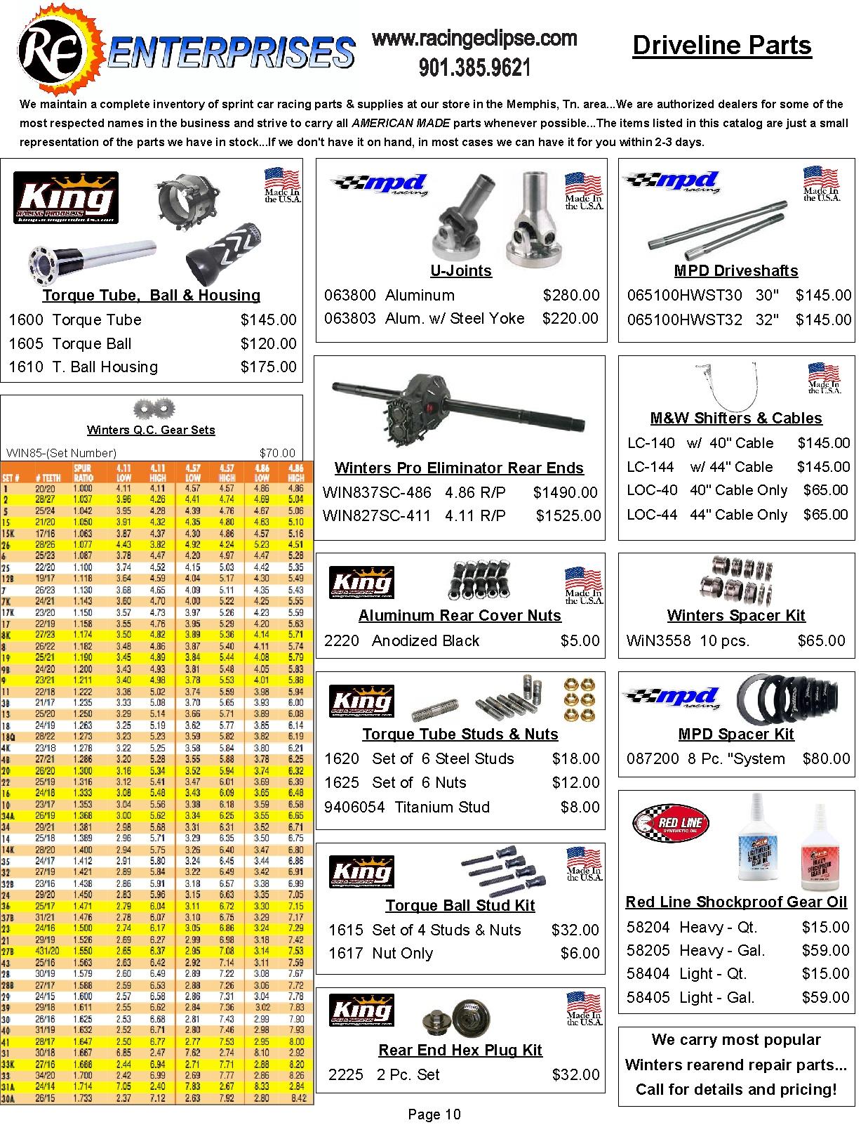 Catalog Page 10- Driveline Parts